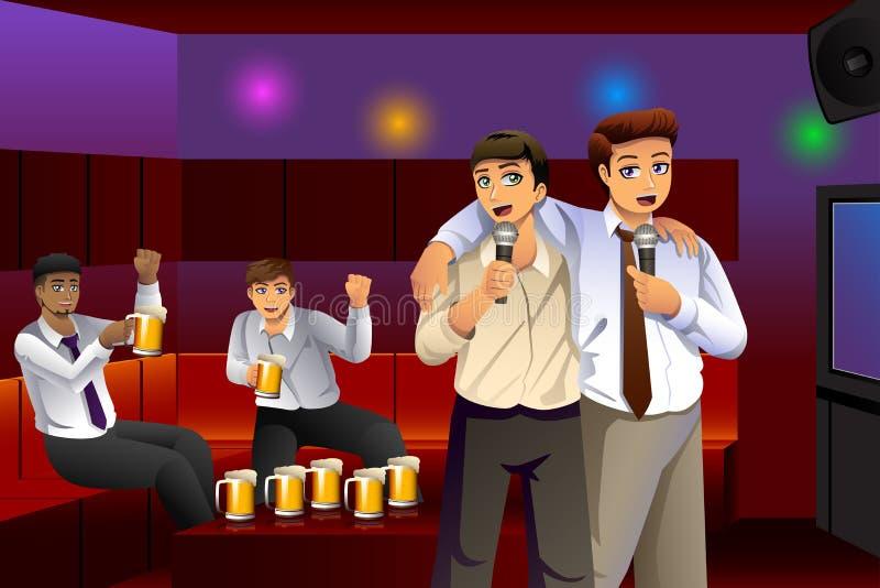 Geschäftsmänner, die nach der Arbeit Karaoke singen vektor abbildung