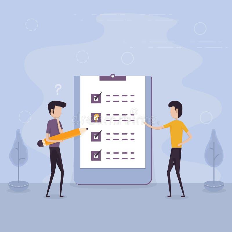 Geschäftsmänner, die riesigen Bleistift und großes checklistMarked checkl halten lizenzfreie abbildung