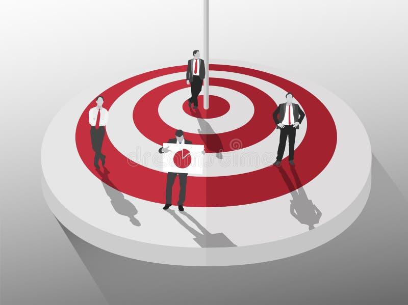 Geschäftsmänner, die um rotes und weißes Ziel stehen stock abbildung