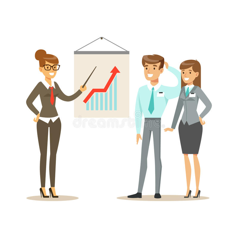 Geschäftsmänner, die Umsatzwachstum im Büro besprechen Bunte Zeichentrickfilm-Figur-Vektor Illustration vektor abbildung