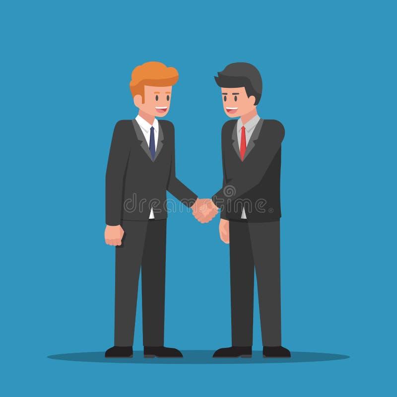 Geschäftsmänner, die zusammen Hände rütteln lizenzfreie abbildung