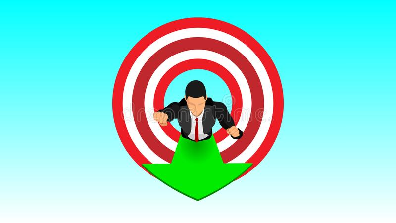Geschäftsmänner dringen Zielfliegen im Himmel ein vektor abbildung