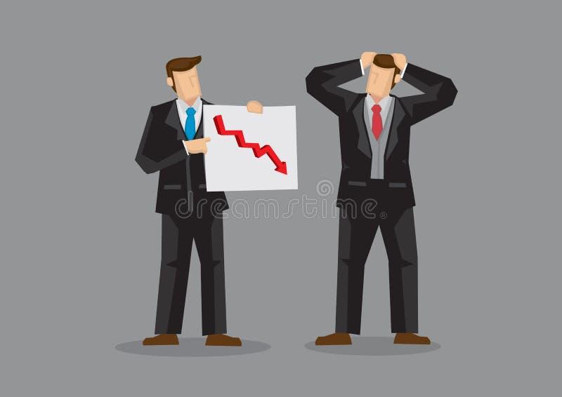 Geschäftsmänner fühlen sich über zurückgehende Umsätze-Karikatur-Vektor-Illustration stressig vektor abbildung