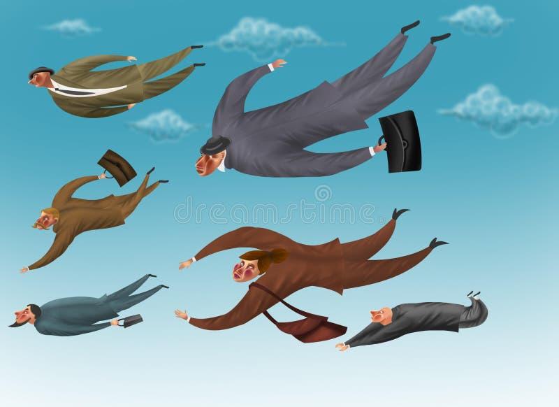Geschäftsmänner fliegen in den Himmel lizenzfreie abbildung