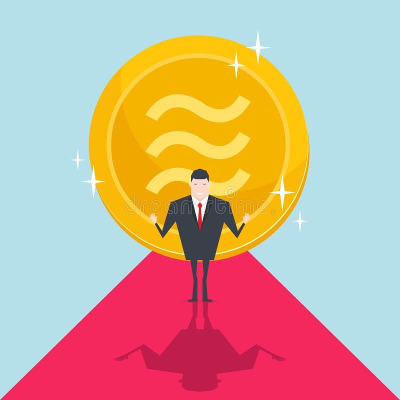 Geschäftsmänner folgen mit großer goldener Waagemünze hinten lizenzfreie abbildung