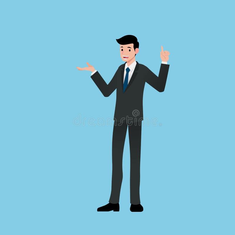 Geschäftsmänner lächeln und stehen, sprechend über Arbeit und stellen Einkommen dar und erklären Produkte und besprechen Projekte vektor abbildung