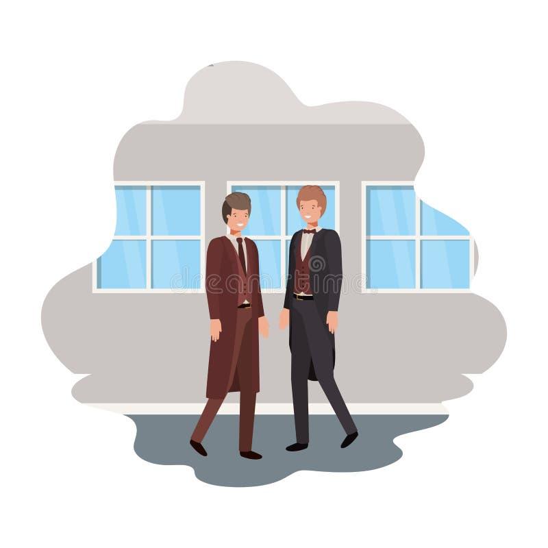 Geschäftsmänner mit Wand- und Fensteravataracharakter vektor abbildung