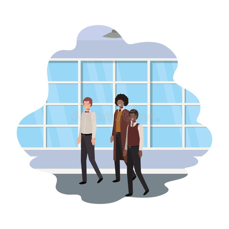 Geschäftsmänner mit Wand- und Fensteravataracharakter lizenzfreie abbildung