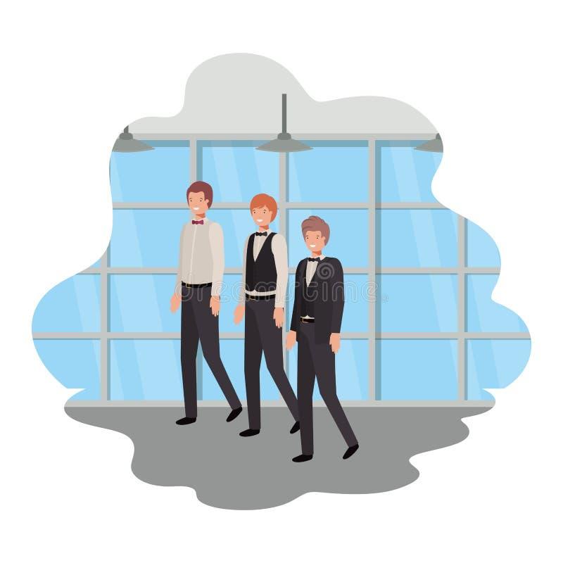 Geschäftsmänner mit Wand- und Fensteravataracharakter stock abbildung