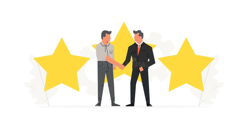 Geschäftsmänner nehmen einen Vertrag vor den großen Sternen auf Positiver Bericht, Qualitätsarbeit, Feedback, Bewertung, Bewertun vektor abbildung