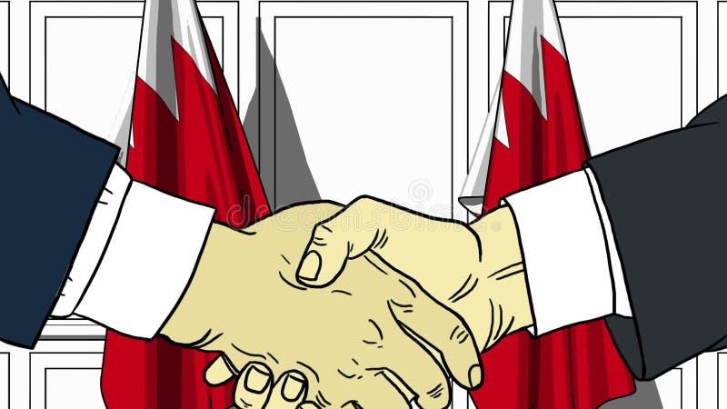 Gesch?ftsm?nner oder Politiker, die H?nde gegen Flaggen von Bahrain r?tteln Illustration der Sitzung oder in Verbindung stehende  vektor abbildung