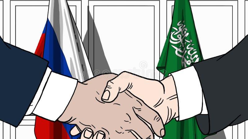Geschäftsmänner oder Politiker, die Hände gegen Flaggen von Russland und von Saudi-Arabien rütteln Sitzung oder Zusammenarbeit be vektor abbildung