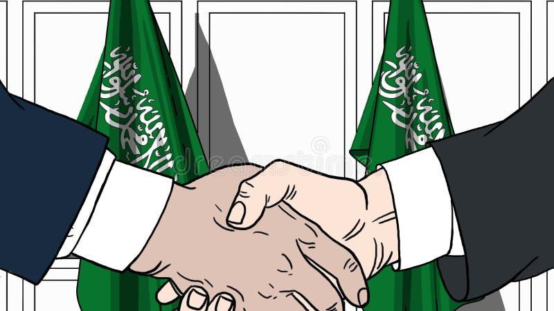 Geschäftsmänner oder Politiker, die Hände gegen Flaggen von Saudi-Arabien rütteln Sitzung oder in Verbindung stehende Karikatur d lizenzfreie abbildung