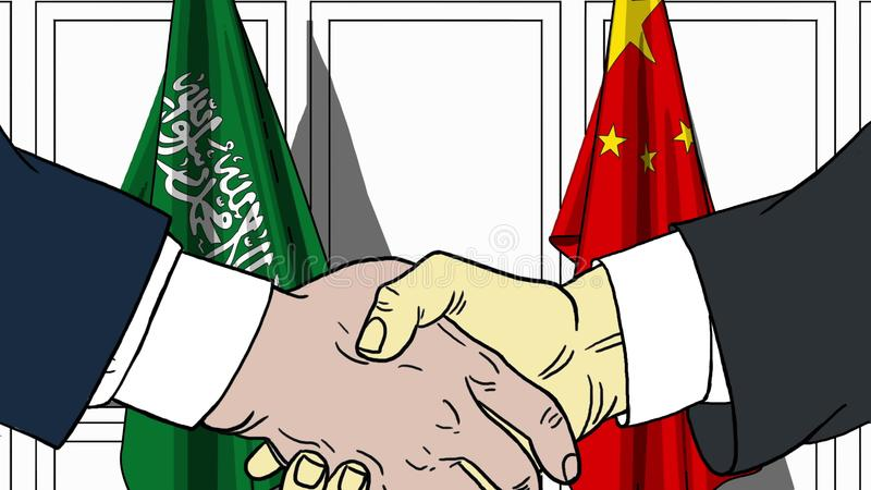 Geschäftsmänner oder Politiker, die Hände gegen Flaggen von Saudi-Arabien und von China rütteln Sitzung oder in Verbindung stehen stock abbildung