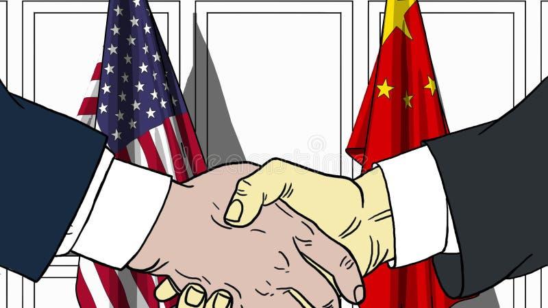 Geschäftsmänner oder Politiker, die Hände gegen Flaggen von USA und von China rütteln Sitzung oder in Verbindung stehende Karikat vektor abbildung