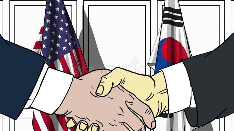 Geschäftsmänner oder Politiker, die Hände gegen Flaggen von USA und von Korea rütteln Sitzung oder in Verbindung stehende Karikat vektor abbildung