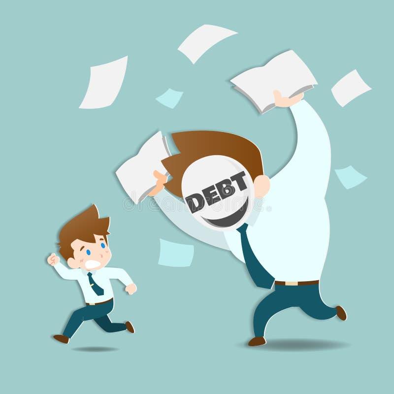 Geschäftsmänner sind ängstlich und Betrieb weg von den enormen Schulden, die sehr schnell jagen lizenzfreie abbildung
