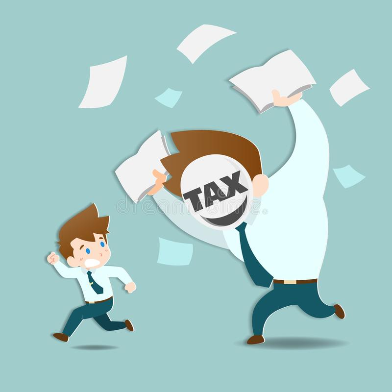 Geschäftsmänner sind ängstlich und Betrieb weg von der enormen Steuer, die sehr schnell jagen vektor abbildung