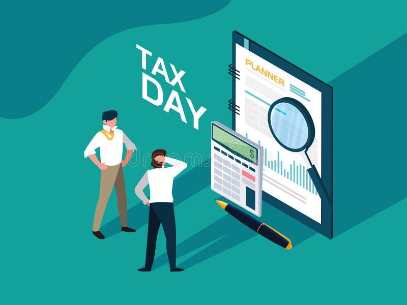 Geschäftsmänner am Steuertag mit Planer und Ikonen vektor abbildung