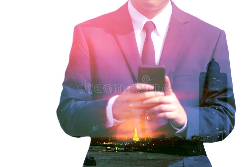 Geschäftsmänner und Stadtbilddoppelbelichtungshintergrund stockbilder