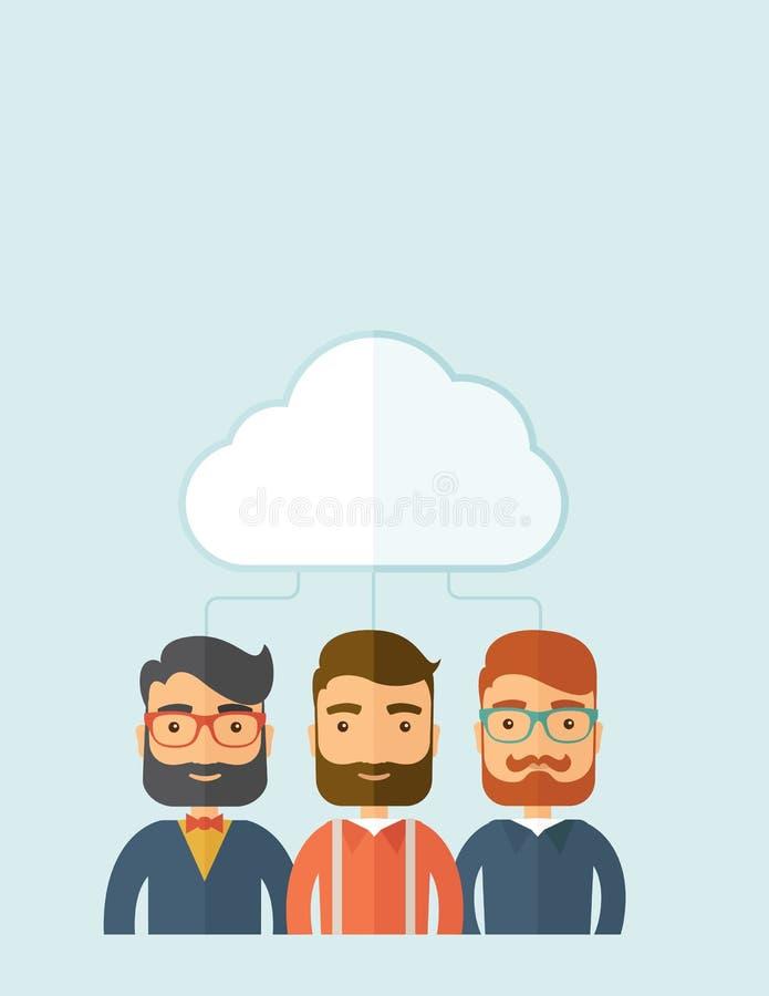 Geschäftsmänner unter der Wolke lizenzfreie abbildung