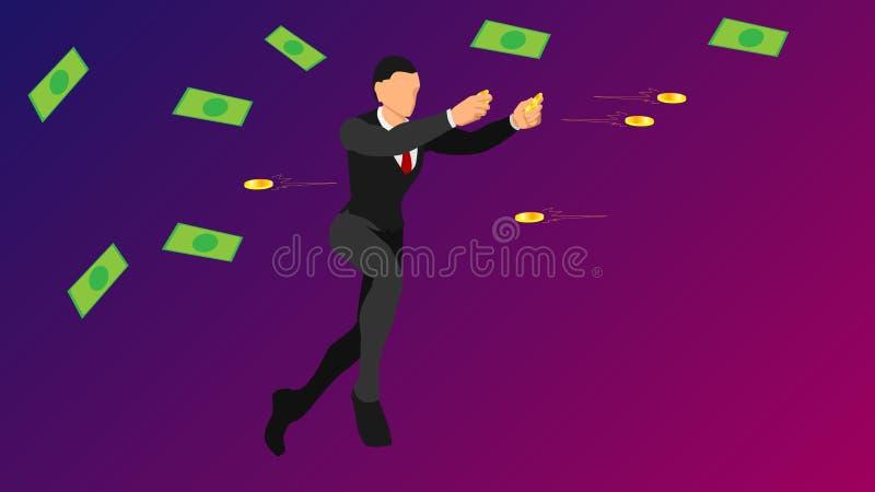 Geschäftsmänner werfen Goldmünzen flache Vektorcharaktere mit Normallacken leere Schablone für das Geschäftsthema-Regengeld lizenzfreie abbildung