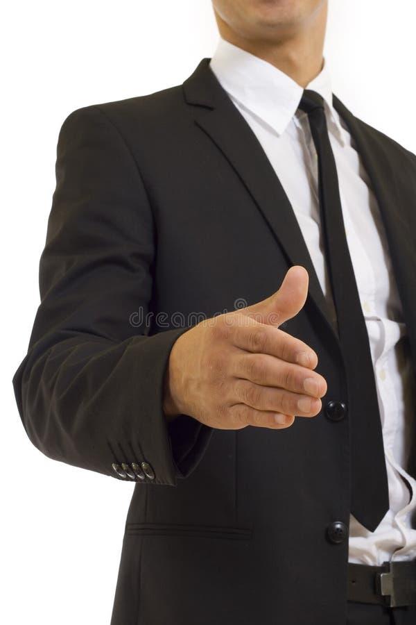 Geschäftsmanhändedruckabschluß oben stockbild