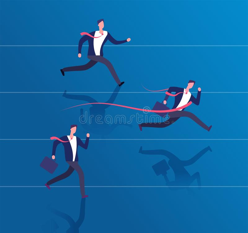 Geschäftsmannüberfahrtziellinie Erfolgsleistung, Führung und gewinnendes Geschäftsvektorkonzept lizenzfreie abbildung