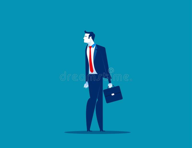 Geschäftsmannüberschrift in der entgegengesetzten Richtung, zum von Hälfte einen Tiefstand zu erreichen Konzeptgesch?fts-Vektoril lizenzfreie abbildung