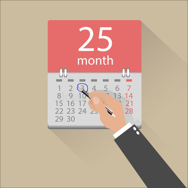 Geschäftsmann übergibt Kennzeichen auf dem Kalender stock abbildung