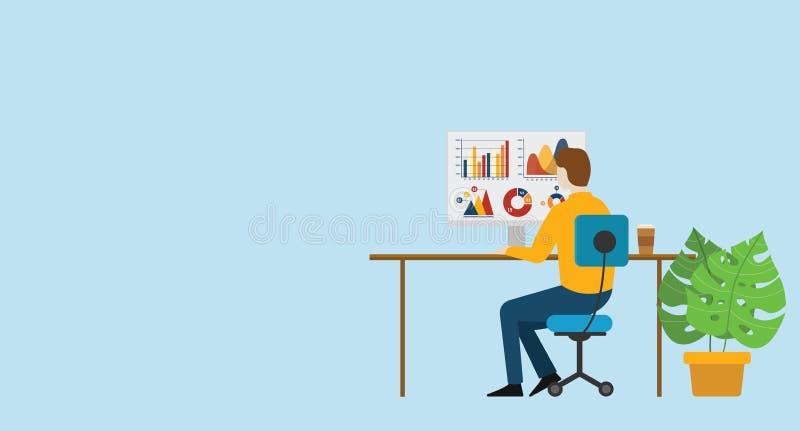 Geschäftsmann analysieren Finanzdatendiagramm-Investition auf Monitorbericht lizenzfreie abbildung