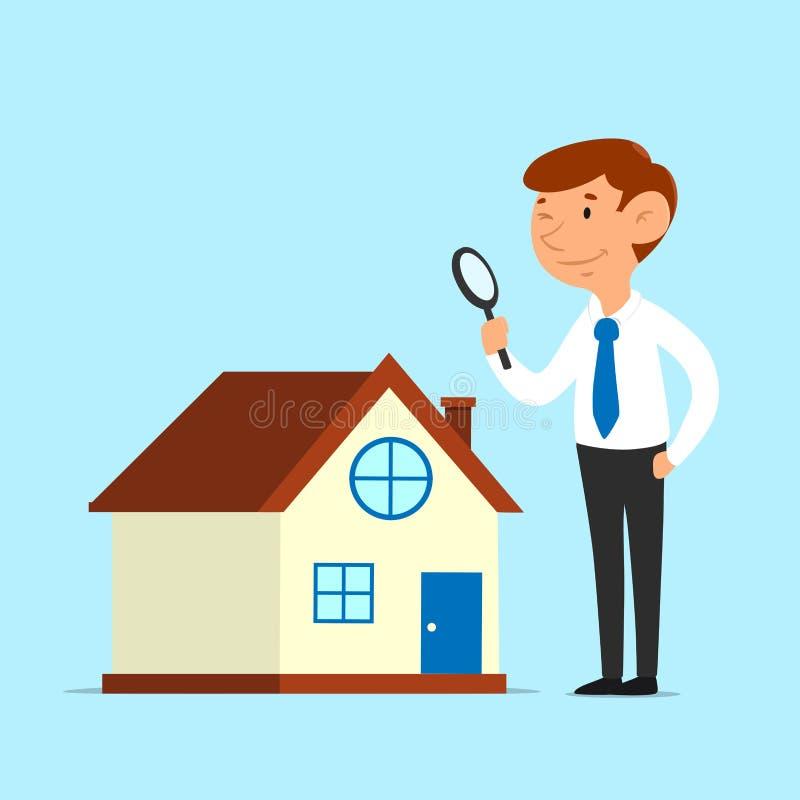 Geschäftsmann analysieren Hausfinanzkonzept lizenzfreie abbildung