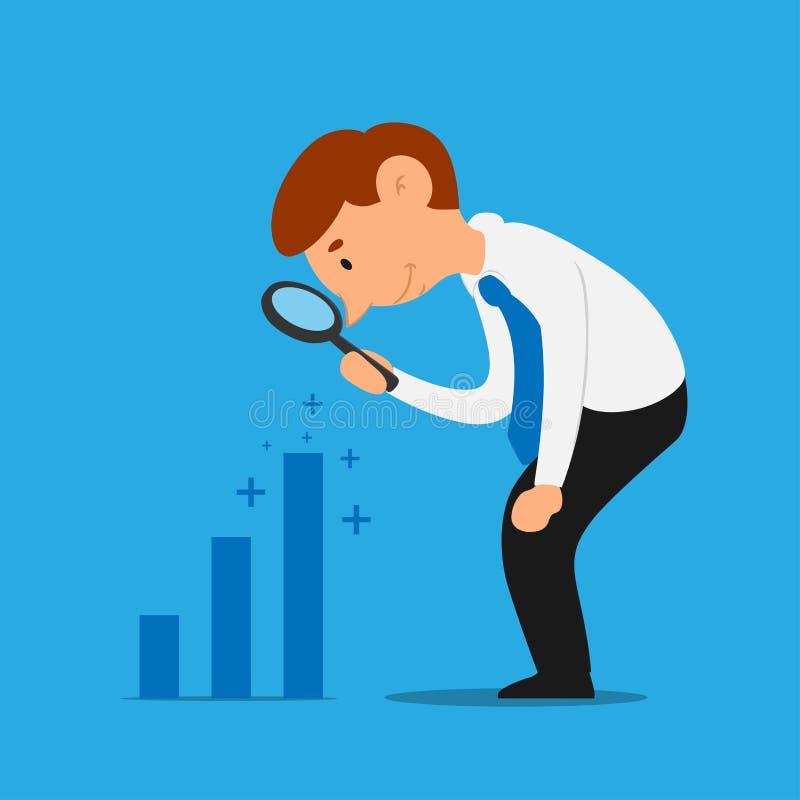 Geschäftsmann analysieren Zunahmegewinndiagramm lizenzfreie abbildung