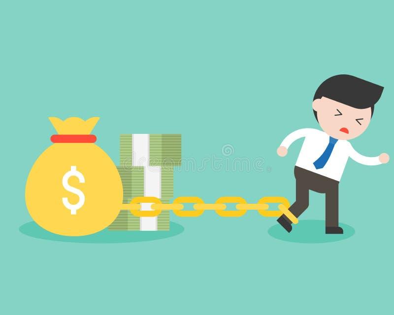 Geschäftsmann angekettet mit Geldtasche und -banknote und Versuch an esca lizenzfreie abbildung