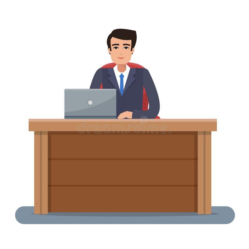 Geschäftsmann an Arbeitsplatz im Büro stock abbildung