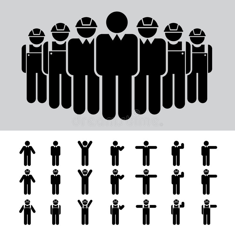 Geschäftsmann, Architekt, Ingenieur, Arbeitskraft, Ikonensatz. stock abbildung
