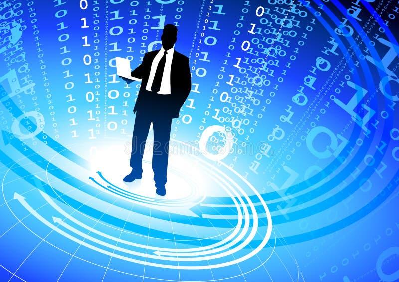 Geschäftsmann auf abstraktem Hintergrund des binären Codes lizenzfreie abbildung