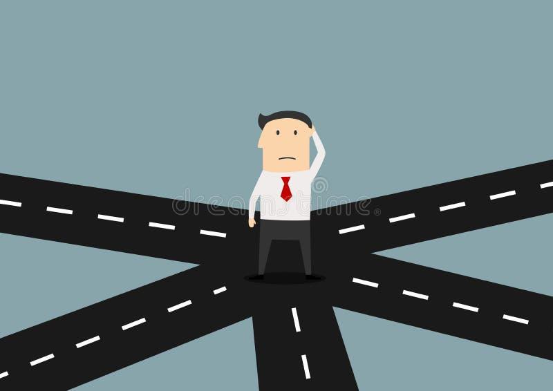Geschäftsmann auf der Kreuzung, die Richtung wählt vektor abbildung