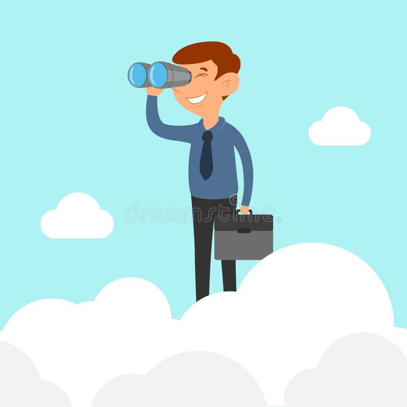 Geschäftsmann auf der Wolke, die Ferngläser hält stock abbildung