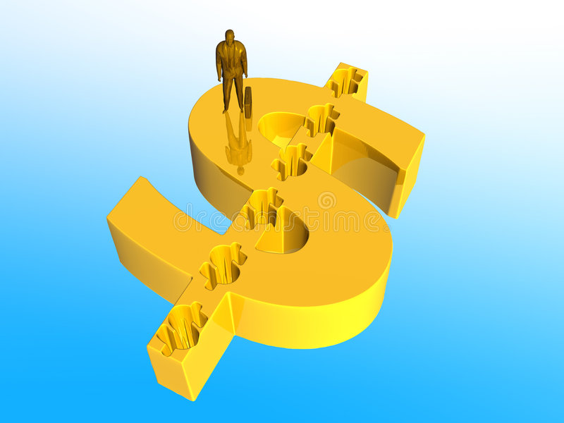 Geschäftsmann auf Dollarzeichen. lizenzfreie abbildung