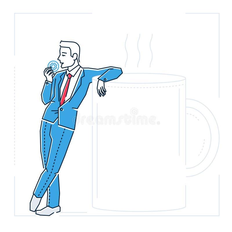 Geschäftsmann auf einer Kaffeebruchstelle-Designart lokalisierte Illustration stock abbildung