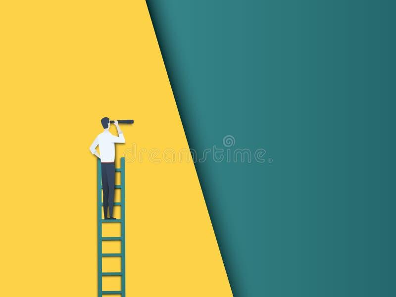 Geschäftsmann auf einer Leiter, die durch Teleskopvektorkonzept schaut Symbol von Zukunft, von Karriereentwicklung und von Fortsc vektor abbildung