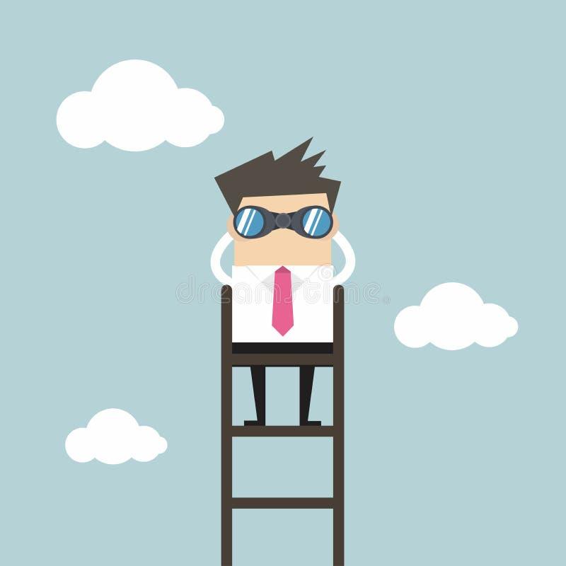 Geschäftsmann auf einer Leiter unter Verwendung der Ferngläser über Wolke lizenzfreie abbildung