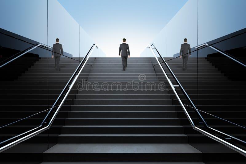 Geschäftsmann auf Treppe lizenzfreie abbildung