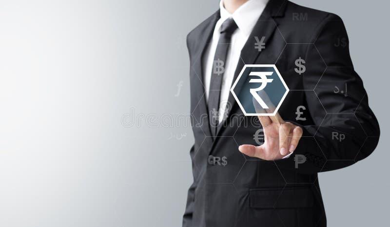 Geschäftsmann ausgewählte Indien-Rupie stockfotos