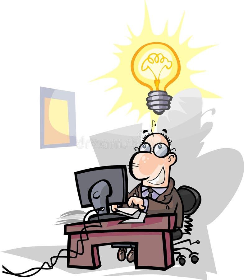 Geschäftsmann, Büroangestellter haben eine gute Idee stock abbildung