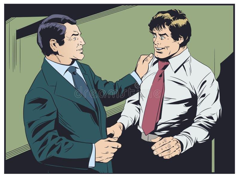 Geschäftsmann beglückwünscht Kollegen Chef preist Untergebenen lizenzfreie abbildung