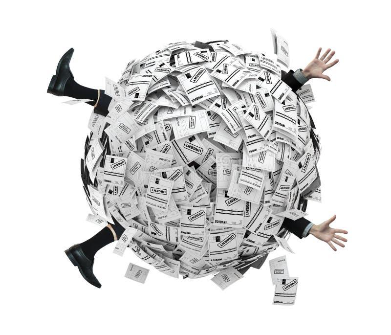 Geschäftsmann begraben in der Kugel der Finanzrechnungen vektor abbildung
