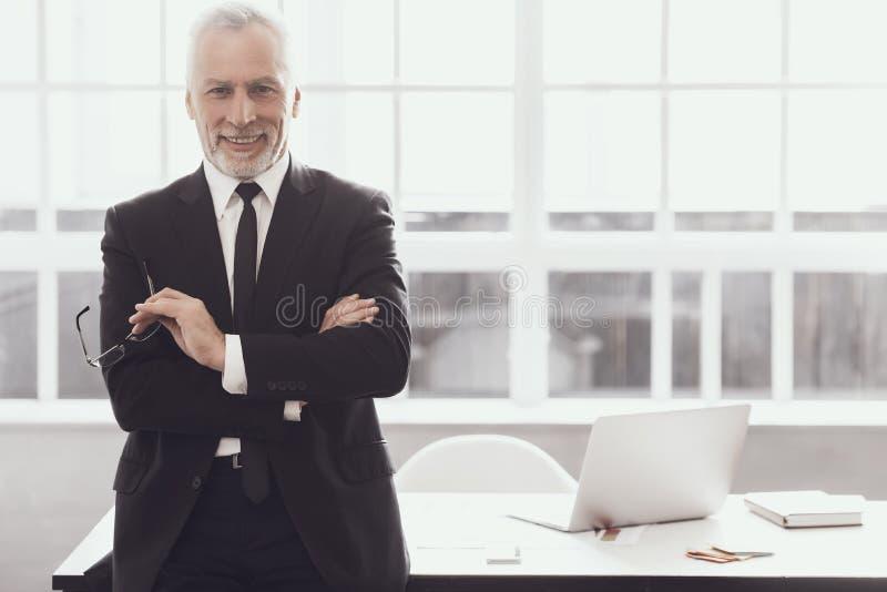 Geschäftsmann bei der Arbeit im Büro Unternehmenslebensstil lizenzfreie stockfotografie