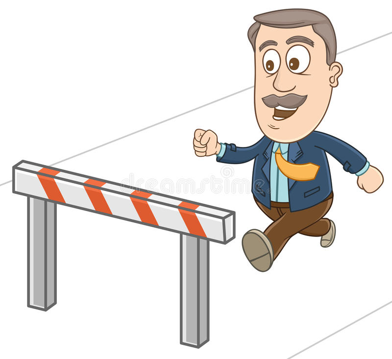 Geschäftsmann - bereiten Sie vor, um über das Hindernis zu springen vektor abbildung